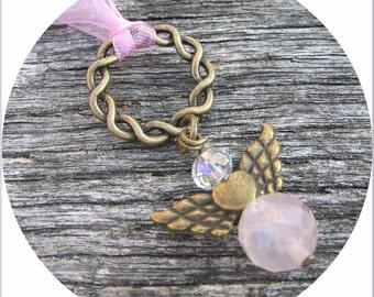 Guardian Angel, Rose Quartz Gemstone Angel, Gift for a Friend, Get Well Gift