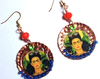 Frida Copper wire wrapped earrings