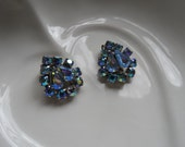 Rhinestone Earrings, Aurora Borealis Blue