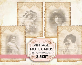 Vintage Woman Note Cards Shabby chic paper Scrapbook Decoupage 3,5x5 inch (396)