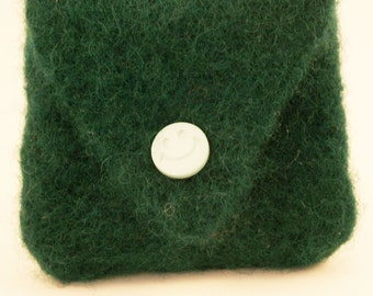Green felted coin purse, hand knitted, hand felted, lined, button fastening