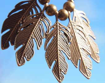 metal feather leafy bronze or copper with ribbed ivory organic cotton // modern // vintage // boho // rustic