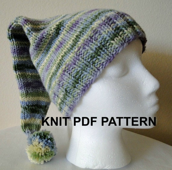 PDF PATTERN Knit Adult Stocking Hat, Ski Hat, Toboggan Hat, Winter Hat with Pom Pom in Light Green and Blue Shades