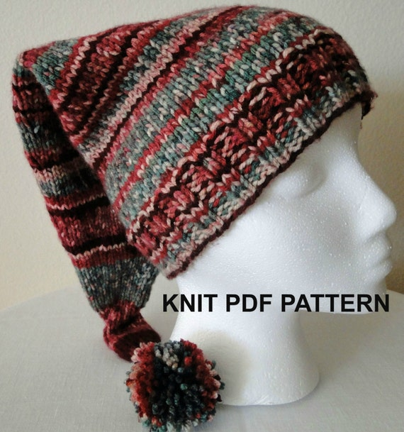 Knit Stocking Cap Pattern : PDF PATTERN Raspberry Knit Stocking Hat in xxs xs s m l