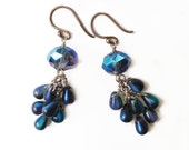 turquoise clusters of czech glass - the Sea Anemone earrings