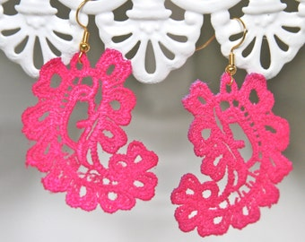 Vintage Fuchsia Pink Lace Paisley Hot PInk Drop Dangle Earrings - Wedding, Bridal, Bridesmaid,Beach, Tropical,Honeymoon