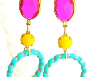 Turquoise and Gold Braided Rope Hoops  aqua Blue Fuchsia Pink Bright Yellow Glass Drop Dangle Earrings - Statement ,Wedding,One of a kind
