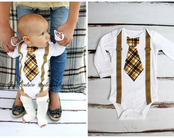 Baby Boy One Piece Tie Outfit Baby Boy Neckie Bodysuit w Suspenders.  Plaid First 1st Birthday Outfit, Cake Smash, Wedding, Coming Home Top