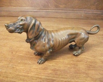 Reserved for Caroline Dachshund - Bronze Dachshund - Antique Dachshund - Wiener Dog