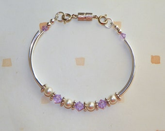 Purple and Pearls Tube Bead Bracelet
