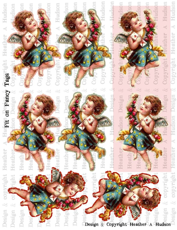 VintageValentine's Day Cute Cupid  Cherubs ATC and Fancy Tags Focals Digital Collage sheet Printable