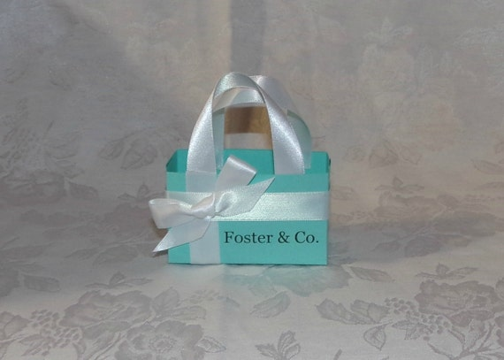 Set of 5 Personalized SMALL Tiffany Blue Gift Bags Favor Boxes other colors available