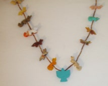 Vintage Native American Micro Heishi & Multi stones Hand Carved Animals Fetish Necklace