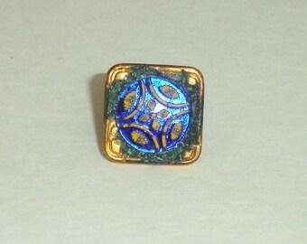 Antique Victorian Gilt Brass & Cobalt Glass Button Finding