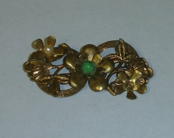 Antique Gilt Brass Victorian Double Circles Floral Pin Brooch 4 Repair ort Repurpose