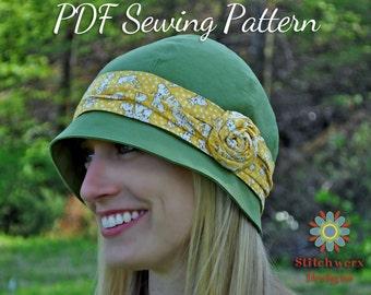 DIGITAL HAT PATTERN, Cloche Hat Pattern, Retro Hat Pattern, Hat Sewing Pattern, Baby Hat Pattern, Womens Girls Hat Pattern, Digital Pdf