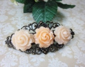 Peach Roses Hair Clip Barette. Gift for her. Birthday, Christmas, Bridal Jewelry.