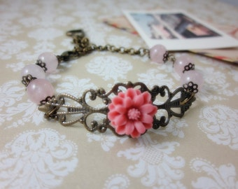 Pink Daisy with Rose Quartz Bracelet. Gift for her. Anniversary, Birthday, Bridesmaids, Maid of Honor.