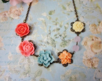 Colorful Roses Necklace. Gift for her. Anniversary, Birthday, Bridesmaid, Maid of honor, Christmas.