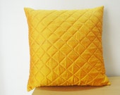 Yellow Quilted Decor Pillow, Cushion Cover in Dupioni Silk , Decorative Pillow , Throw Pillow , Accent Pillow