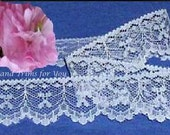 White Lace Trim 12 Yards Bows Scalloped 1-1/4 inch Lot O71 Added Items Ship No Charge