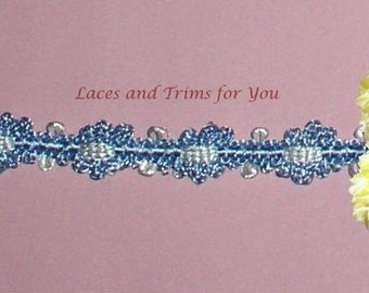 Blue Braided Lace Trim 5/10 Yards 1/2 inch wide Lot R97 Added Items Ship No Charge