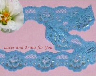 Turquoise Lace Trim 10/20 Yards Stretch 1-5/8 inch wide Lot O62 Added Items Ship No Charge