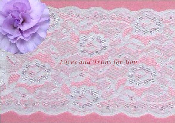 White Lace Trim 3 Yards Floral Stretch Bridal 5-3/8 inch N34 Added Items Ship No Charge