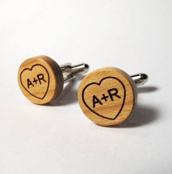 Carved Initials in Heart, Wood Cuff Links, Custom Letters, Monogram
