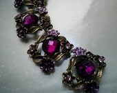 4 Pieces  Deep Magenta Rhinestone  Metal Beads with  Flower and Leaves  Motif  Base Connector Buckles