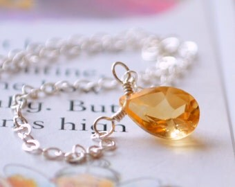 November Birthday, Citrine Necklace, Child or Women, Sterling Silver, Concave Cut Stone, Birthstone Jewelry