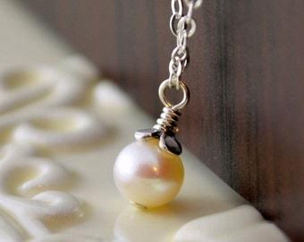 June Birthday Jewelry, Birthstone Necklace, Genuine Freshwater Pearl, Child Children, Flower Girl, Sterling Silver Chain
