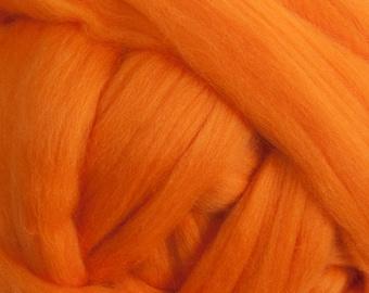 Superfine Merino Wool Top - 18.5 micron - Bright Orange - 4 ounces
