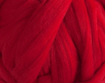 Superfine Merino Wool Top - 18.5 micron - Red - 4 ounces