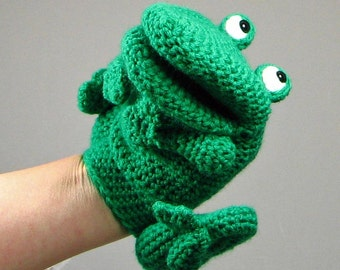 Crochet pattern: make a Frog Hand Puppet / Glove puppet  - INSTANT DOWNLOAD .pdf