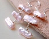 Biwa Pearl Earrings, Soft Blush Pink, Genuine Freshwater Pearl, Wire Wrapped, Tropical Beach Jewelry, Gold or Sterling Silver, Free Shipping