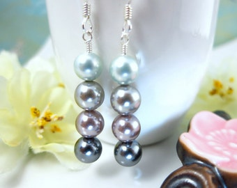 Shades of Gray Pearl Dangle Earrings - 50 Shades of Gray Earrings - Silver Gray Pearl Bridesmaid Earrings - 50 shades darker anniversary