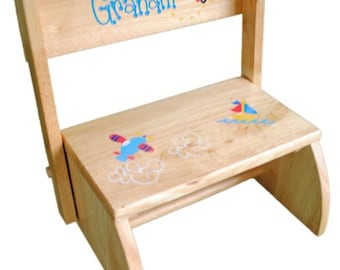 Personalized Child's Flip Stool | Natural | Baby Gift | Free Shipping | Boy Gift | Gift for Boy