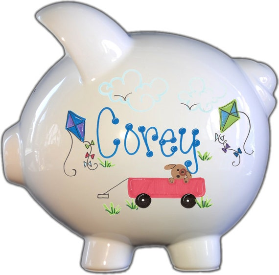 Hand Painted Ceramic Large Piggy Bank With Playtime Design