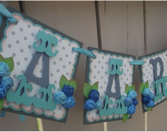 Handmade Banner - Custom made - GO GREEN - Name Banner Happy Birthday Baby Shower Aviator Teddy Theme
