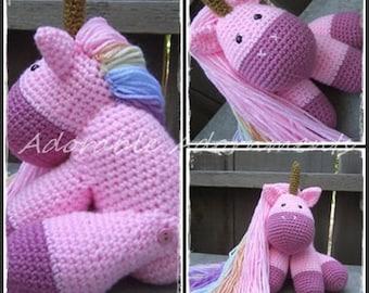Unicorn Plushie, Crocheted Unicorn, Stuffed Unicorn Toy, Unicorn Art Doll, Golden Horned Unicorn Plush, Handmade Unicorn, Unicorn Amigurumi