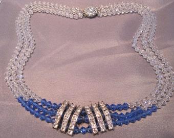 Vintage Silver Rhinestone Blue Crystal Triple Strand Necklace