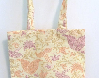 Exotic Flowers in Melon and Lilac Small Tote for a Gift Cotton Fabric Fat Quarter Original Design