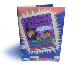Halloween Book Cover with Notebook - The Simpsons Upcycled Comic Book in Vinyl