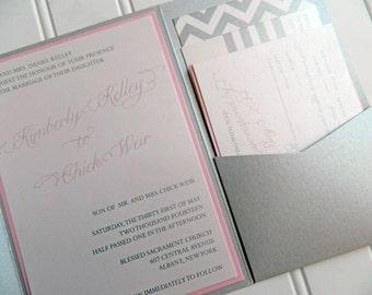 Metallic Silver and Pink Glam Pocketfold Invitations