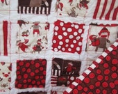 Sock Monkey..........A Fray Edge Baby/Toddler Quilt....Ready To Ship
