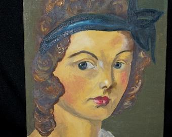 Vintage Oil Painting of a Beautiful Young Woman / 1940s Original Artwork  / Oil Portrait