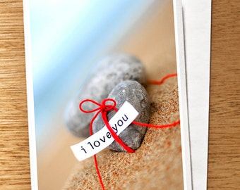 Love Valentine CARD I love you Card Love, Heart of Stone, Beach, Red, I Love You Card, Hearts, Valentine Card