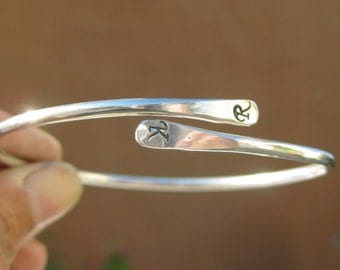 Sterling Silver Personalized Sweetheart Bangle Custom Made with Your Initials