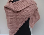 Dusty rose hand crocheted shawl with moss stitching and scallop edging-READYTO SHIP
